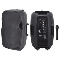CASSA AMPLIFICATA 50W TROLLEY CON LETTORE PER FILE MP3 E BLUETOOTH CON MICROFONO WIRELESS VHF