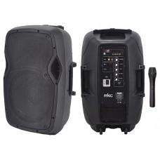 CASSA AMPLIFICATA 50W TROLLEY CON LETTORE PER FILE MP3 E BLUETOOTH CON MICROFONO WIRELESS VHF