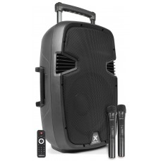 CASSA AMPLIFICATA 500W TROLLEY CON LETTORE PER FILE MP3 E BLUETOOTH CON DOPPIO MICROFONO WIRELESS