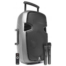 CASSA AMPLIFICATA 700W TROLLEY CON LETTORE PER FILE MP3 E BLUETOOTH CON DOPPIO MICROFONO WIRELESS