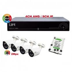 KIT VIDEOSORVEGLIANZA DVR 4 CANALI AHD,HD1TB,4 TEL 2MPX 1080P 1/2 CMOS