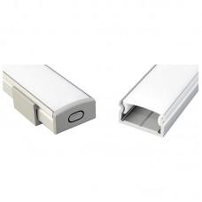 KIT PROFILO+TAPPI+COVER SATINATO PER STRIP LED IN ALLUMINIO DA PARETE 22,6mmx18mmx8,5mm BARRA MT.2