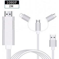 CAVO ADATTATORE HDMI A SMARTPHONE - 3 IN 1 MICROUSB,TYPE C E IPHONE