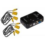 SWITCH KVM MANUALE PER 2 PC USB/VGA CON I 1MOUSE,1 TASTIERA USB E 1 MONITOR VGA CAVI INCLUSI
